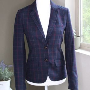 Navy/Red Plaid Blazer with Elbow Patches